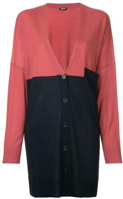 Jil Sander Navy colourblock mid-length cardigan
