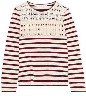 See by Chloe Macramé-Paneled Fringe-Trimmed Striped Cotton Top