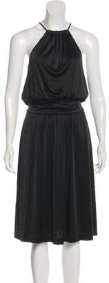 Halston Halter Pleated Midi Dress
