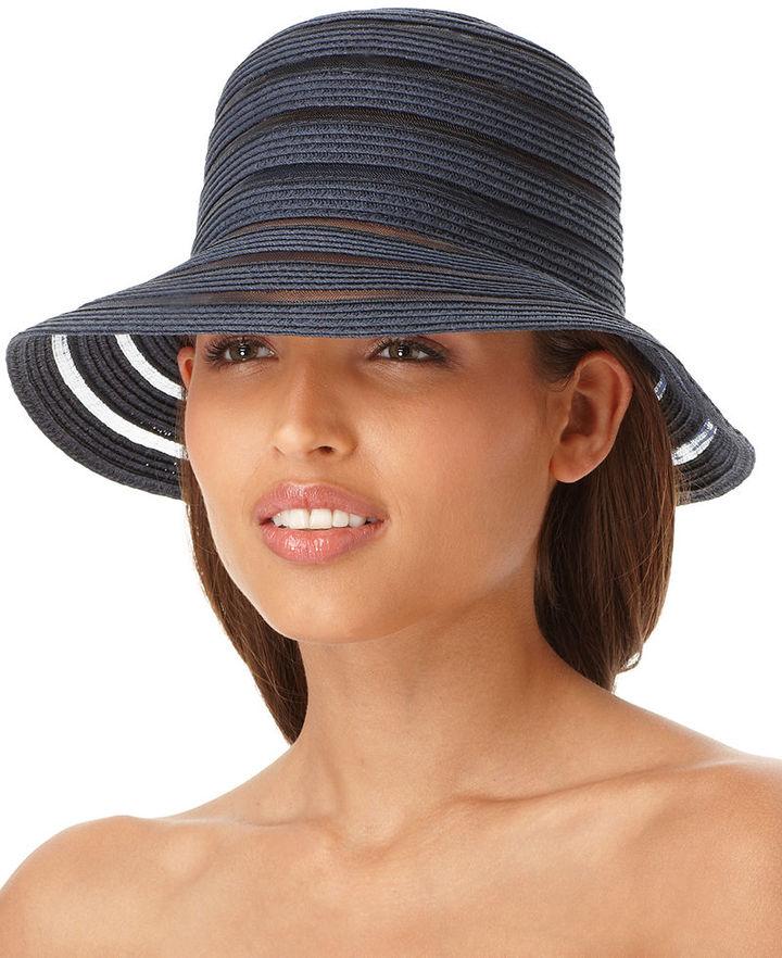 Nine West Hat, Sheer Stripe Packable Cloche