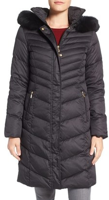 Women's Ellen Tracy Quilted Down Coat With Genuine Fox Fur Trim $360 thestylecure.com