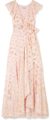 Temperley London Riviera Ruffled Fil Coupé Chiffon Wrap Maxi Dress - Pastel pink