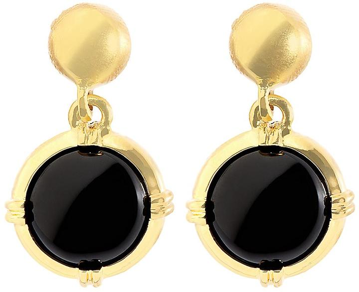 Brooks Brothers Gold and Black Button Drop Earrings