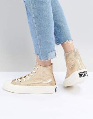 Converse Chuck '70 metallic hi trainers in gold