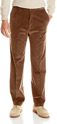 Haggar Men's 21 Wale Stretch Corduroy Expandable Waist Classic Fit Plain Front Pant
