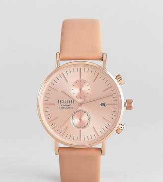 Reclaimed Vintage Inspired Chronograph Leather Watch In Tan 36mm Exclusive to ASOS