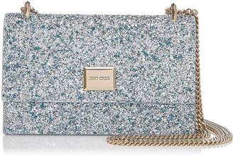 Jimmy Choo LENI Denim Mix Painted Coarse Glitter Fabric Mini Bag