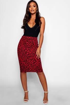 boohoo Petite Leopard Print Midi Skirt