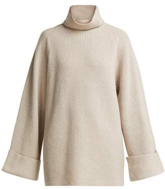 Raey Wide Sleeve Ribbed Roll Neck Wool Sweater - Womens - Grey
