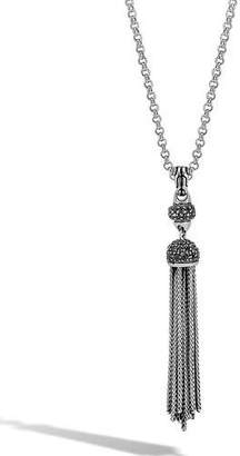John Hardy Classic Chain Tassel Necklace with Black Sapphire & Black Spinel