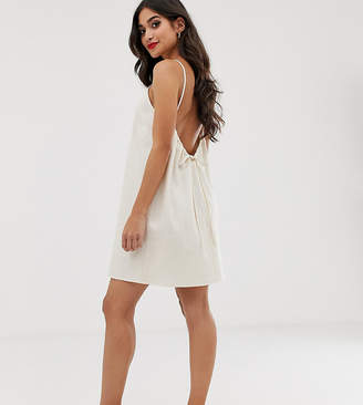 Asos DESIGN Petite scoop back shift mini sundress in linen