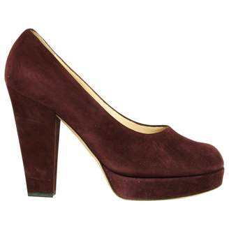 Saint Laurent Burgundy Suede High Heel