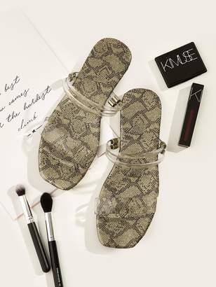 3f4bafb84 Shein Snakeskin Pattern Flat Sandals