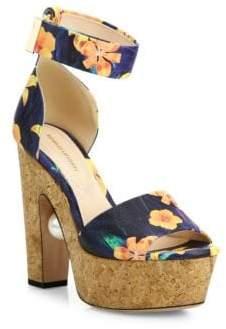Nicholas Kirkwood Maya Pearly Heel Flower-Print Leather Platform Sandals