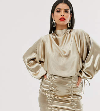 Asos Tall DESIGN Tall satin mini dress with ruched skirt and blouson top