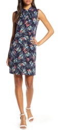 2c73f1aebb4 Leota Palm Print Tie Neck Shift Dress