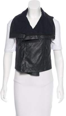 Veda Leather Metallic-Accented Vest