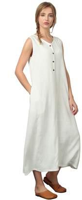 Sellse Women's Linen Cotton Sleeveless Custom Dress Kaftan Plus Size Clothing b65