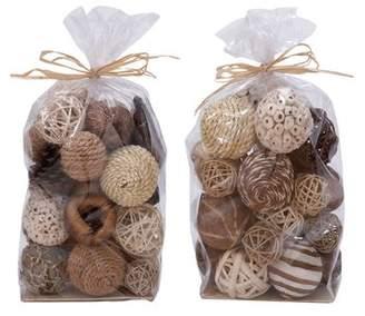 Cole & Grey 2 Piece Natural Decorative Ball Bag Set