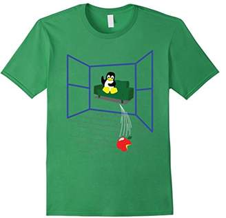 Original Penguin Linux penguin Throws an Apple out the Window - Funny T-Shirt