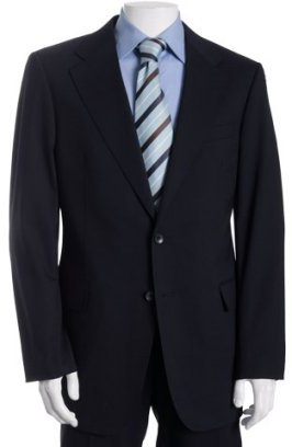 Gucci navy stretch wool 2-button suit with flat front trousers