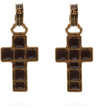 Gucci Cross Drop Earrings - Womens - Black