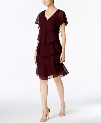 SL Fashions Tiered Rhinestone Capelet Dress
