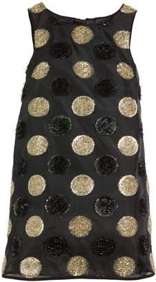 Milly Minis Textured Polka-Dot Angular Shift Dress, Size 4-7