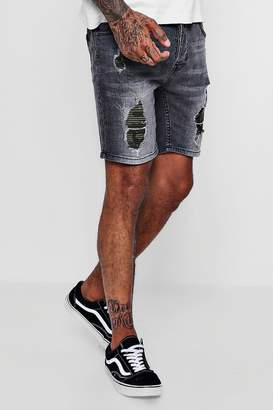 boohoo Skinny Fit Denim Shorts With Camo Backing