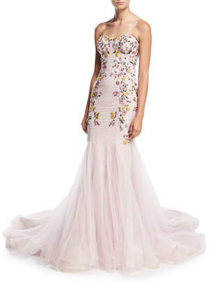 Marchesa Strapless Embroidered Mermaid Gown, Blush $8,995 thestylecure.com