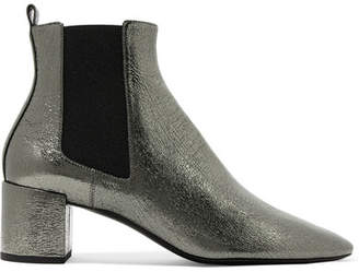 Saint Laurent Lou Metallic Cracked-leather Ankle Boots - Silver