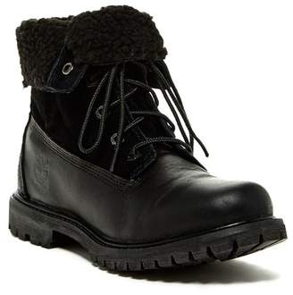 Timberland Waterproof Leather Foldover Fleece Bootie