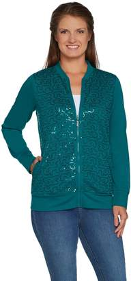Factory Quacker Sequin Swirl Zip Front French Terry Bomber Jacket