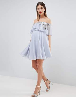 Asos DESIGN Maternity embellished bandeau crop top skater mini dress