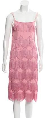 Marc Jacobs Fringe-Accented Knee-Length Dress Pink Fringe-Accented Knee-Length Dress