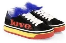 Marc Jacobs Love Empire Fur-Trim Platform Sneakers
