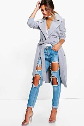boohoo Petite Nicole Belted Wool Look Robe Duster Coat