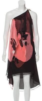 Halston Printed Asymmetrical Dress