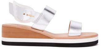 Ancient Greek Sandals Clio Rainbow Leather Wedge Sandals - Womens - Silver