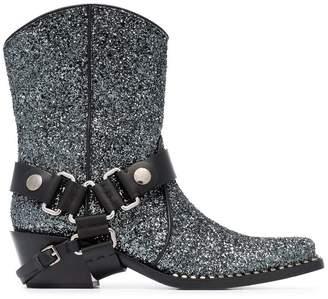 Miu Miu 40 Glitter Cowboy Boots