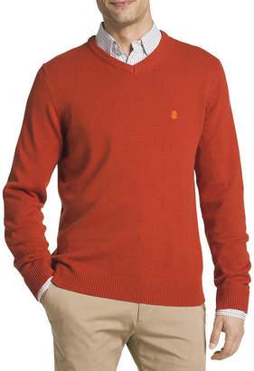 Izod Fieldhouse V Neck Long Sleeve Pullover Sweater
