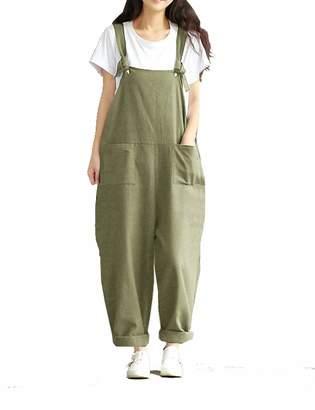 d983a43b6d4 Naliha Womens Cotton Linen Overalls Plus Size Strap Loose Harem Jumpsuit  Rompers XXL