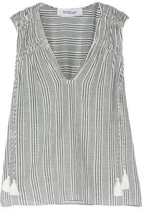 Derek Lam 10 Crosby Tasseled Striped Cotton-Gauze Top