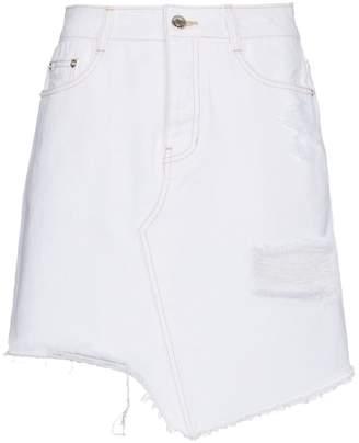 Sjyp White Cut Off Denim Miniskirt