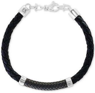 Effy Men's Leather Bracelet in Sterling Silver