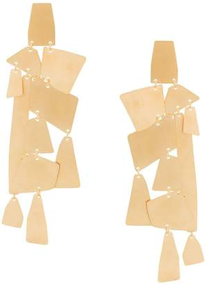 Annie Costello Brown oversized geometric pendant earrings