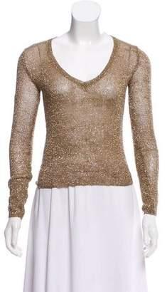 Miu Miu Metallic Long Sleeve Sweater