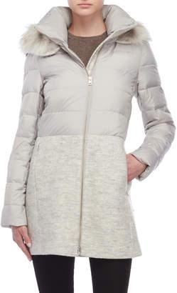 Soia & Kyo Real Fur Trim Mix-Media Coat