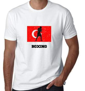 Hollywood Thread Turkey Olympic - Boxing - Flag - Silhouette Men's T-Shirt