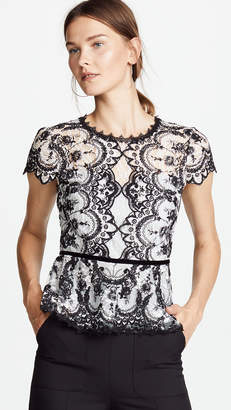 Marchesa Corded Embroidered Lace Top